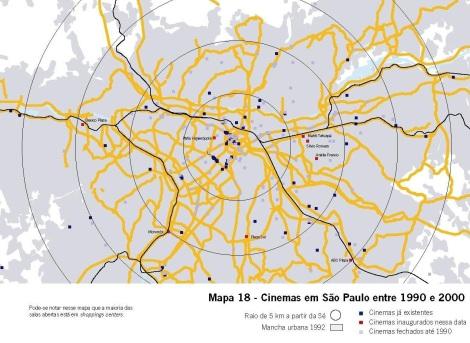 """Imagem 5 - Salas de cinema existentes em São Paulo 1990-2000. Fonte Conrado, Bruno Campos. """"O crescimento do cinema na cidade de São Paulo. Salas do Centro x Salas de Bairro""""."""