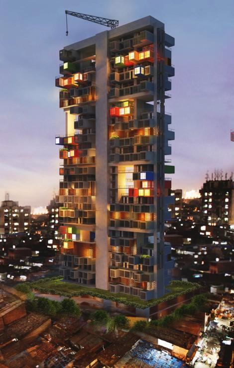 Container concurso favela Mumbai arquitetura sustentabilidade arranha ceu arquitete suas ideias (3)